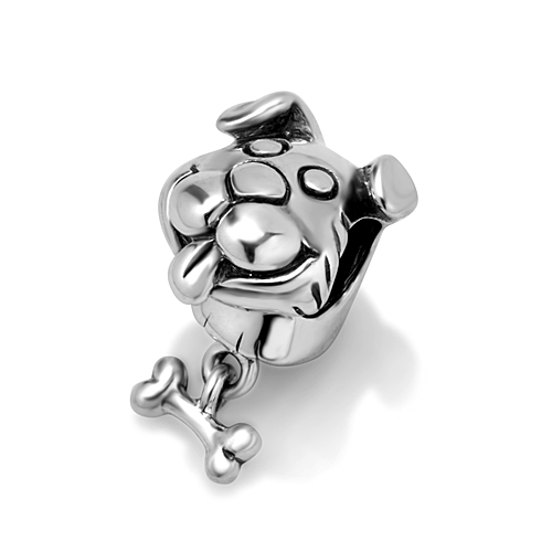 925 Sterling Silver Puppy Dog with Bone Bead Charm Fits Pandora Bracelet