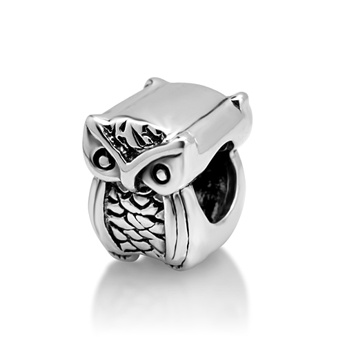925 Sterling Silver Thick Owl Bead Charm Fits Pandora Bracelet