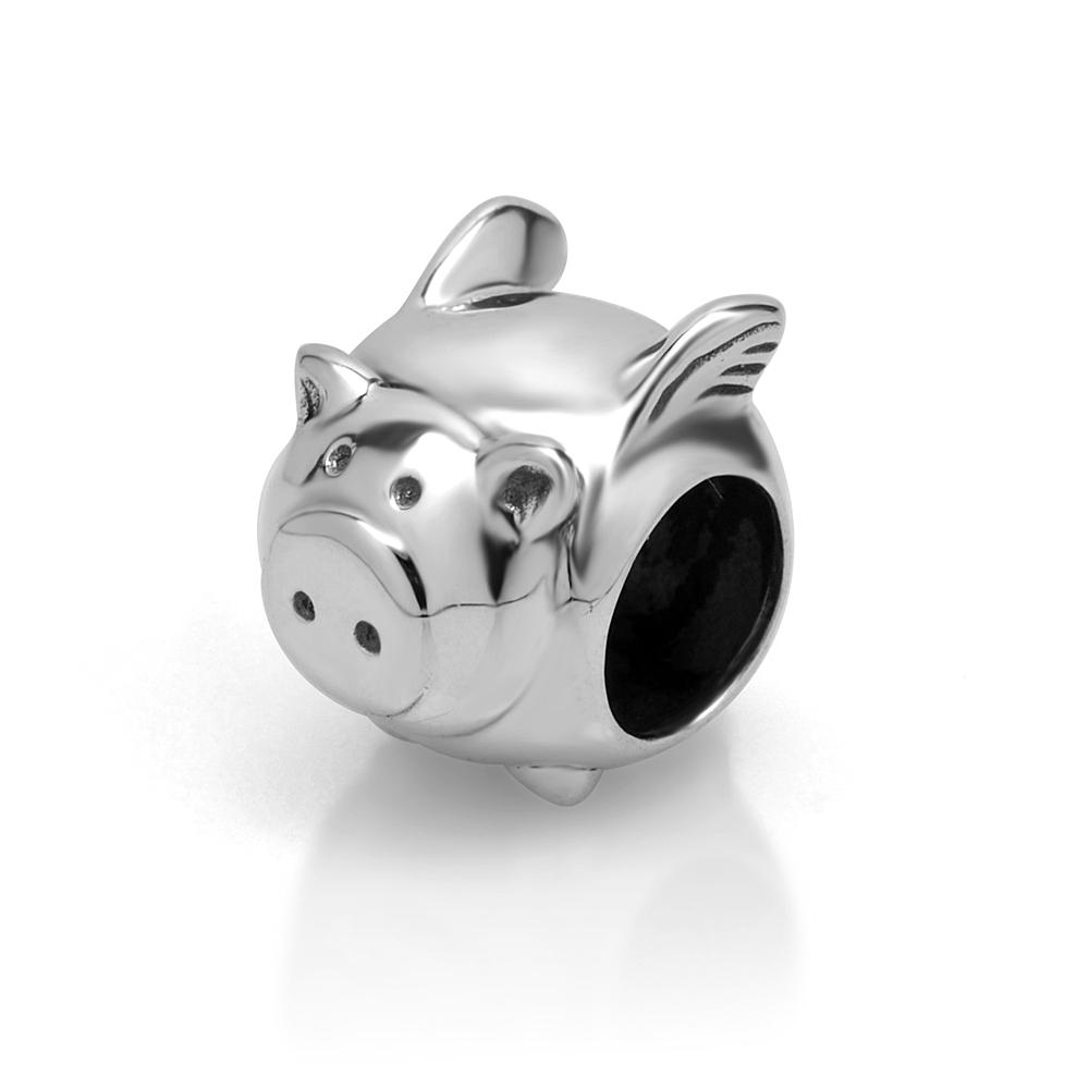 925 Sterling Silver Cute Flying Pig Bead Charm Fits Pandora Bracelet