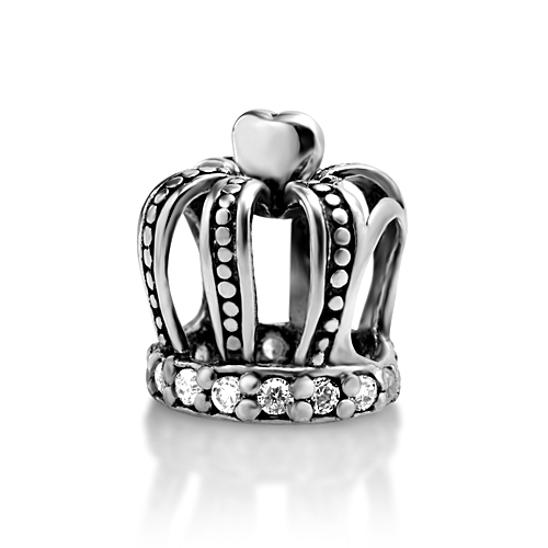 925 Sterling Silver Heart Crown with White CZ Bead Charm Fits Pandora Bracelet