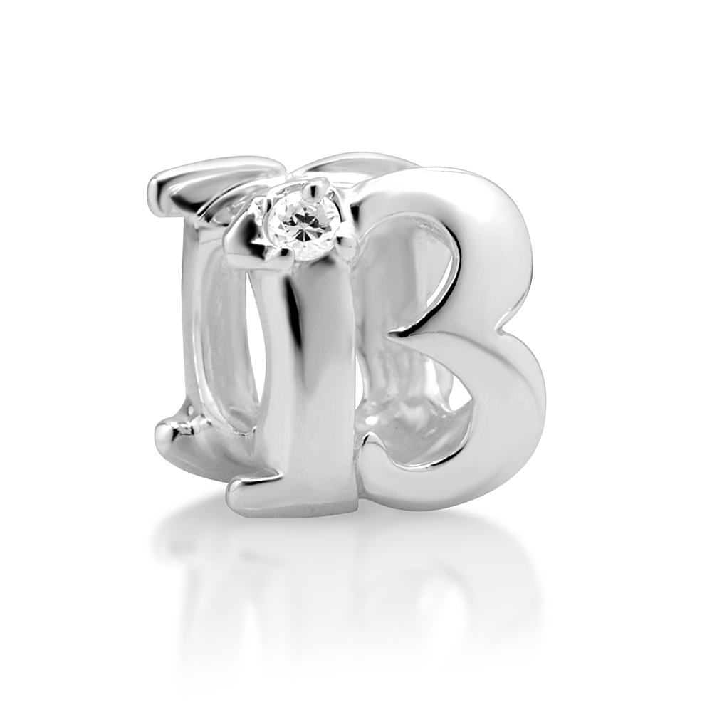 925 Sterling Silver White CZ Lucky Thirteen Bead Charm Fits Pandora Bracelet, Womens