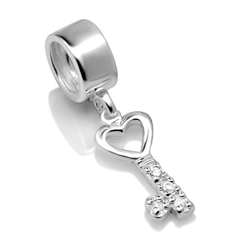 925 Sterling Silver White CZ Heart Key Dangle Bead Charm Fits Pandora Bracelet