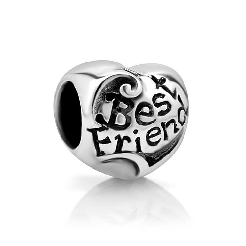 925 Sterling Silver Best Friend Heart Bead Charm Fits Pandora Bracelet