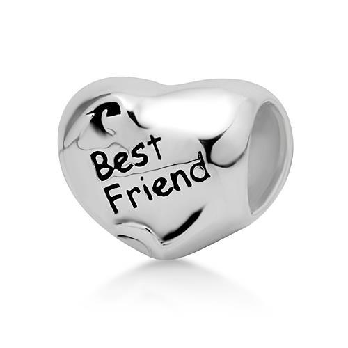 925 Sterling Silver Heart Best Friend Bead Charm Fits Pandora Bracelet