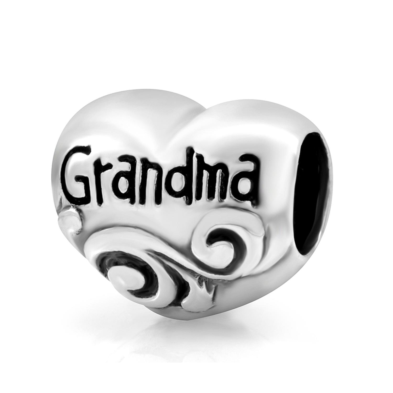 925 Sterling Silver Heart Grandma Bead Charm Fits Pandora Bracelet