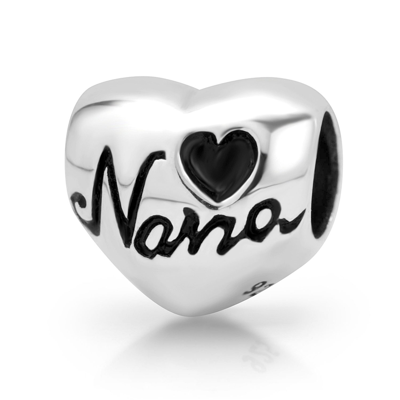 925 Sterling Silver Heart Nana Bead Charm Fits Pandora Bracelet