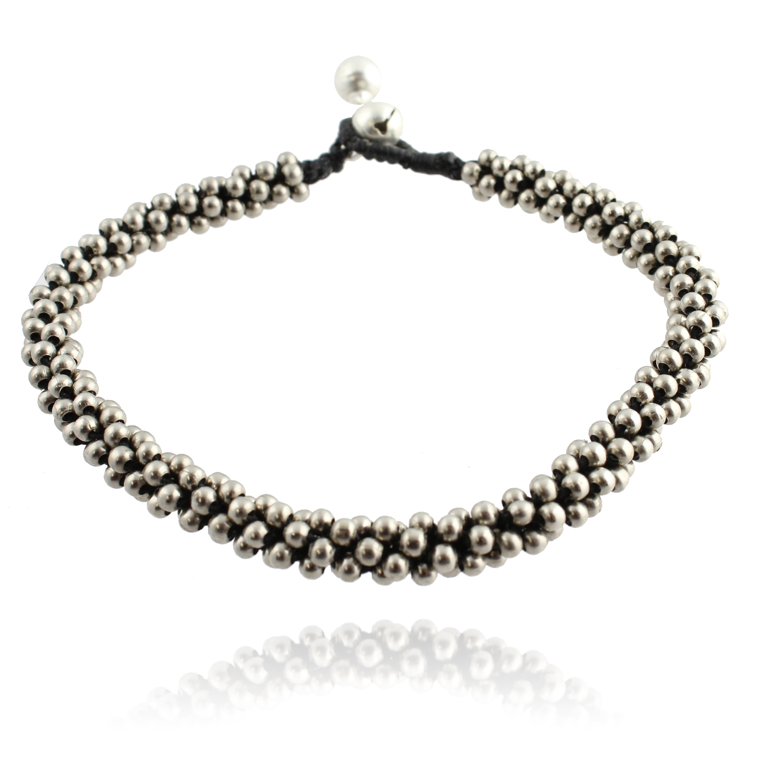 Adjustable Anklet with Beads and Bells, 10 to 10.5 inches, Handmade Fair Trade