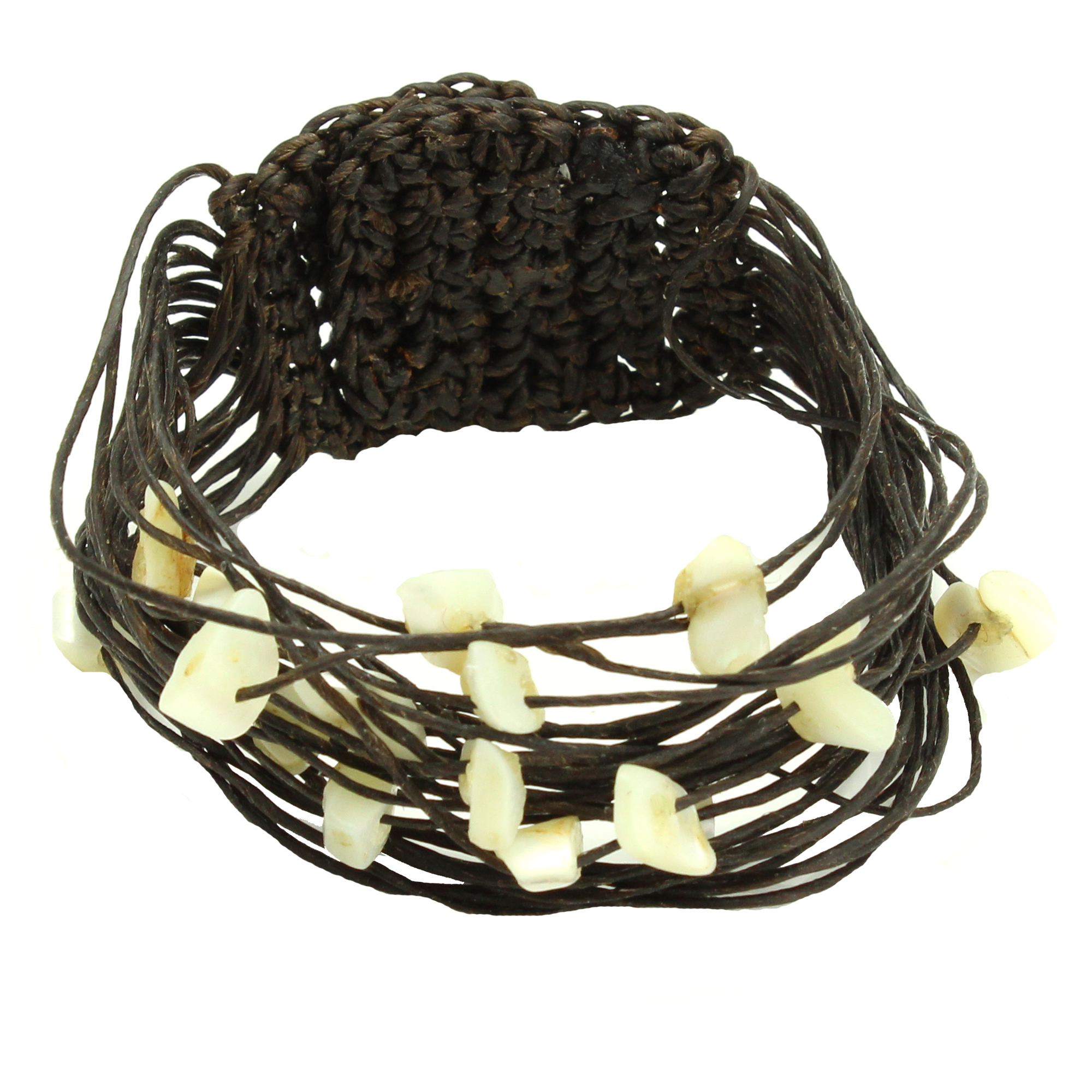 Wax Cotton and White Stone Brown Multi Strand Bracelet, Handmade Fair Trade