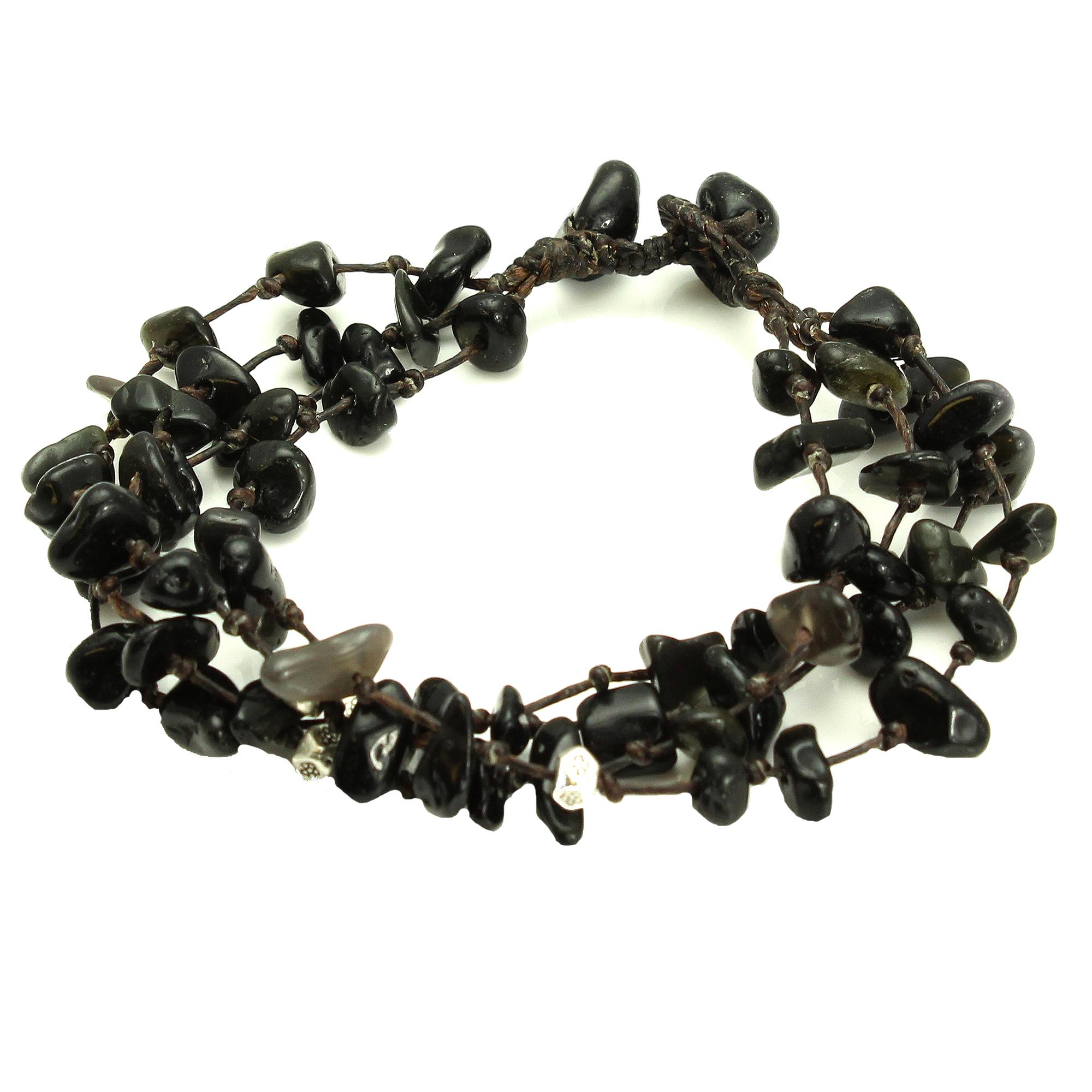 Adjustable Four Strand Black Stone Bead Bracelet, Handmade Fair Trade
