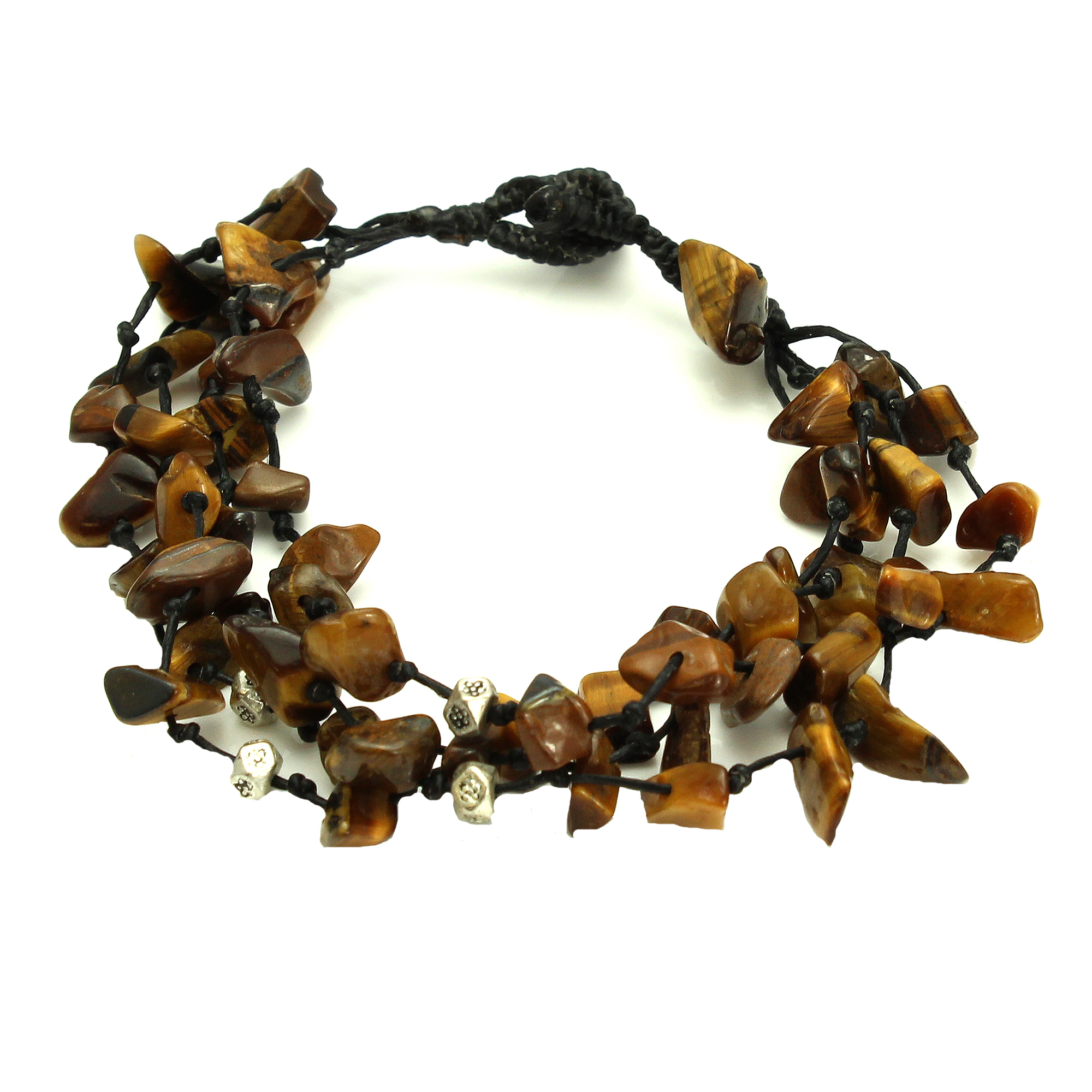Adjustable Four Strand Brown Stone Bead Bracelet, Handmade Fair Trade