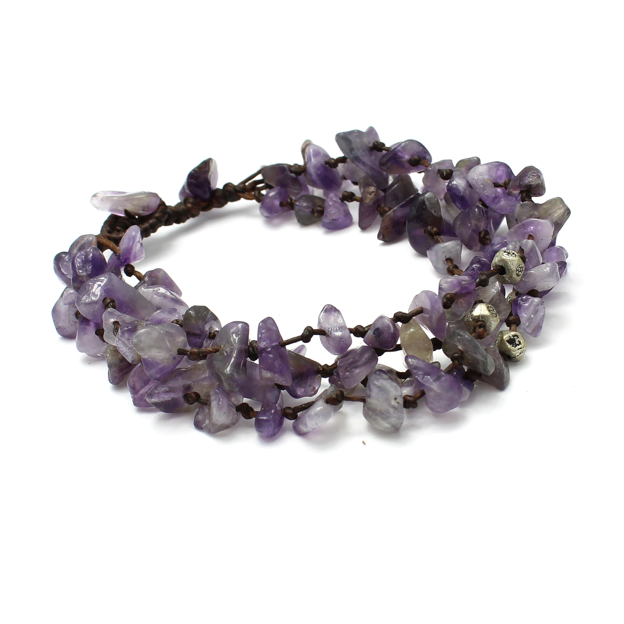 Adjustable Four Strand Purple Stone Bead Bracelet, Handmade Fair Trade
