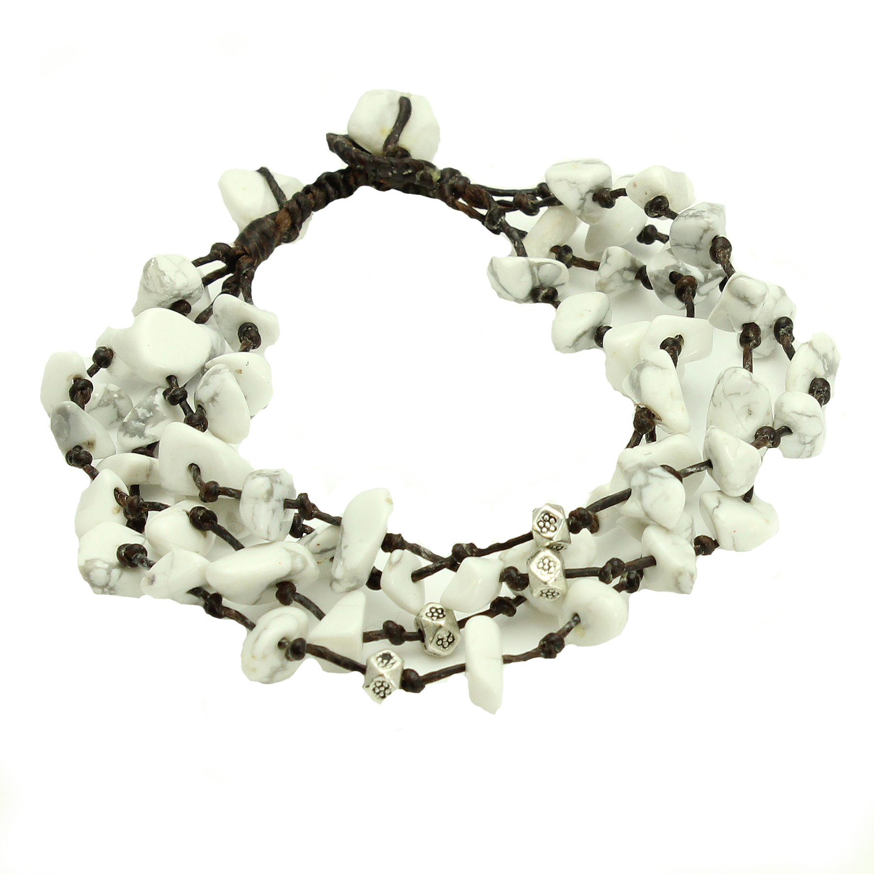 Adjustable Four Strand White Stone Bead Bracelet, Handmade Fair Trade