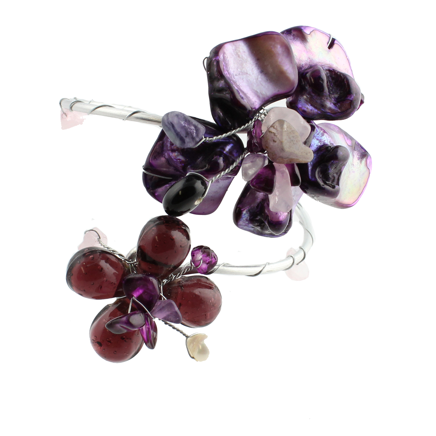 Purple Sea Shell Flower Wrap Cuff Bracelet, Handmade Fair Trade