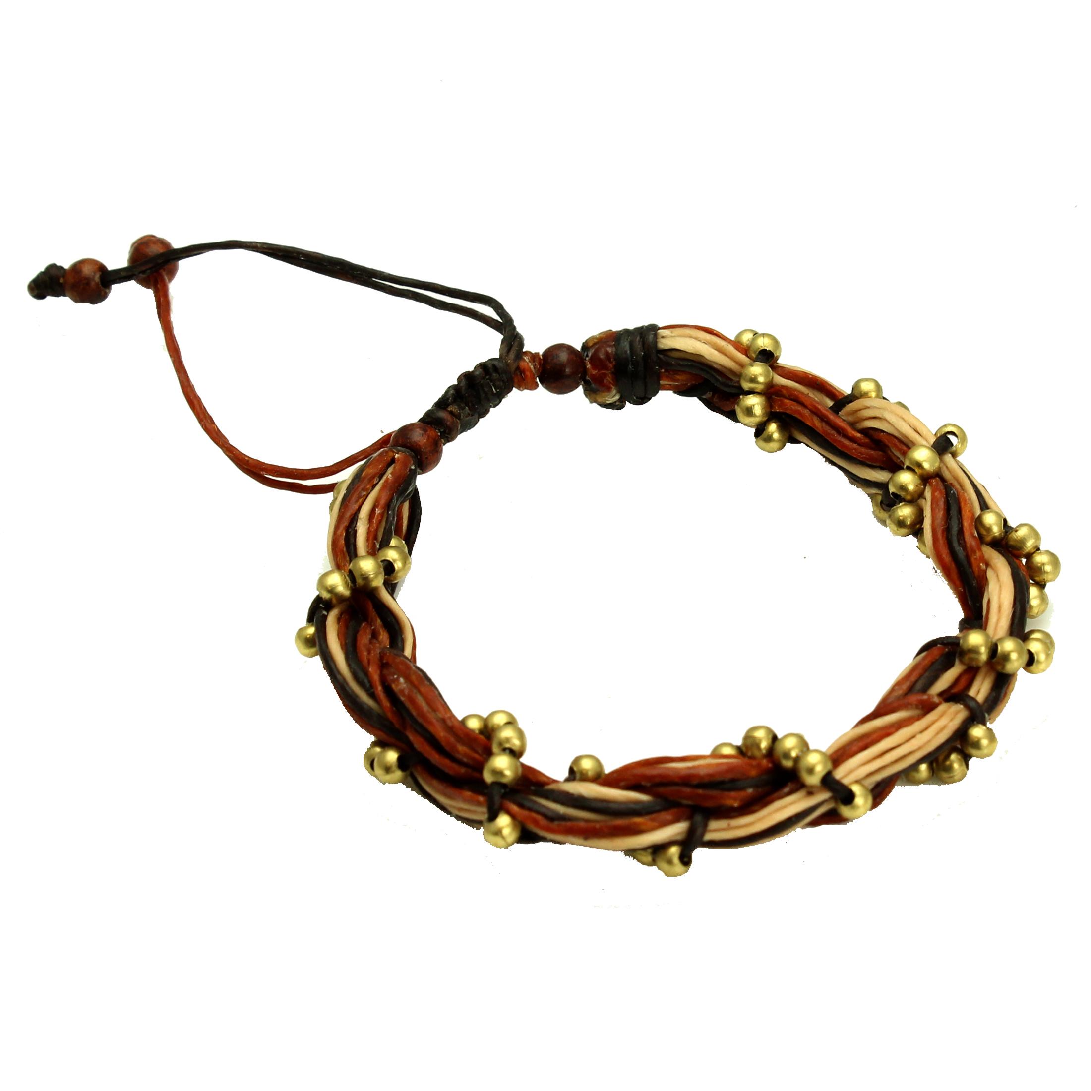 Adjustable Entwined Wax Brown Cord Vine Unisex Brass Bead Bracelet, Handmade Fair Trade