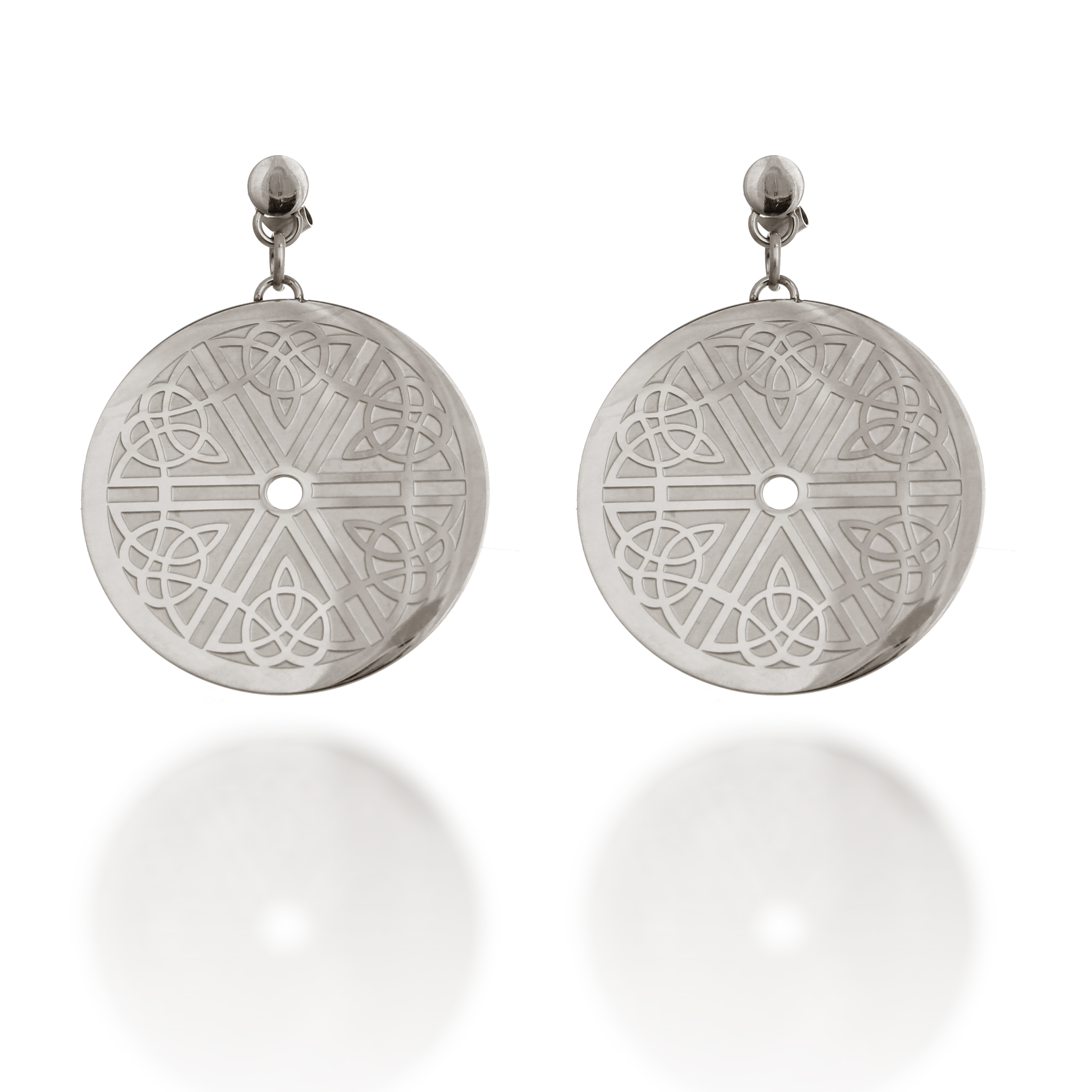 316L Stainless Steel Classic Celtic Disk Fashion Trendy Dangle Earrings