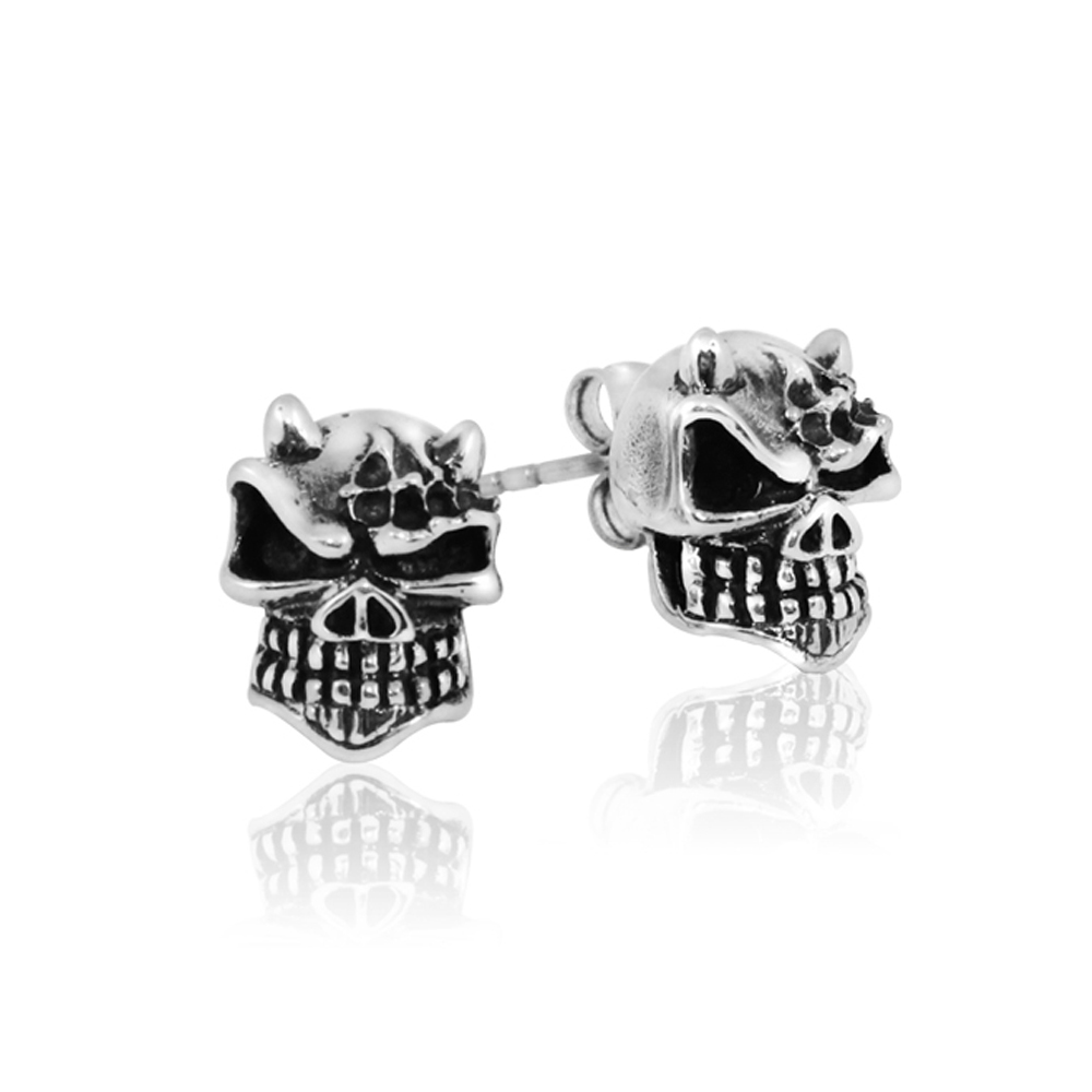 Punk Rock Metal 316L Stainless Steel with Black Oil Gothic Skull Stud Earrings