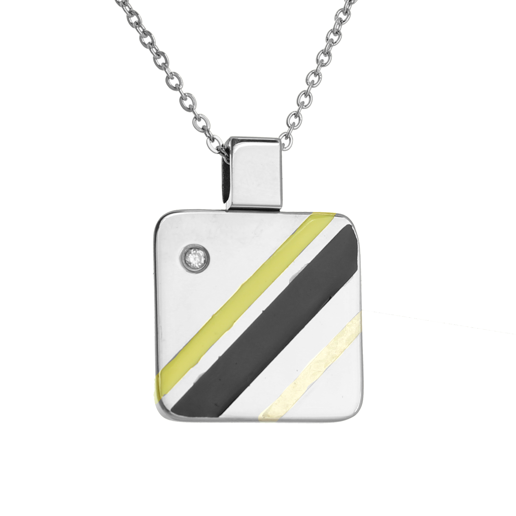 316L Stainless Steel and Black Square Striped Fashion Pendant Necklace