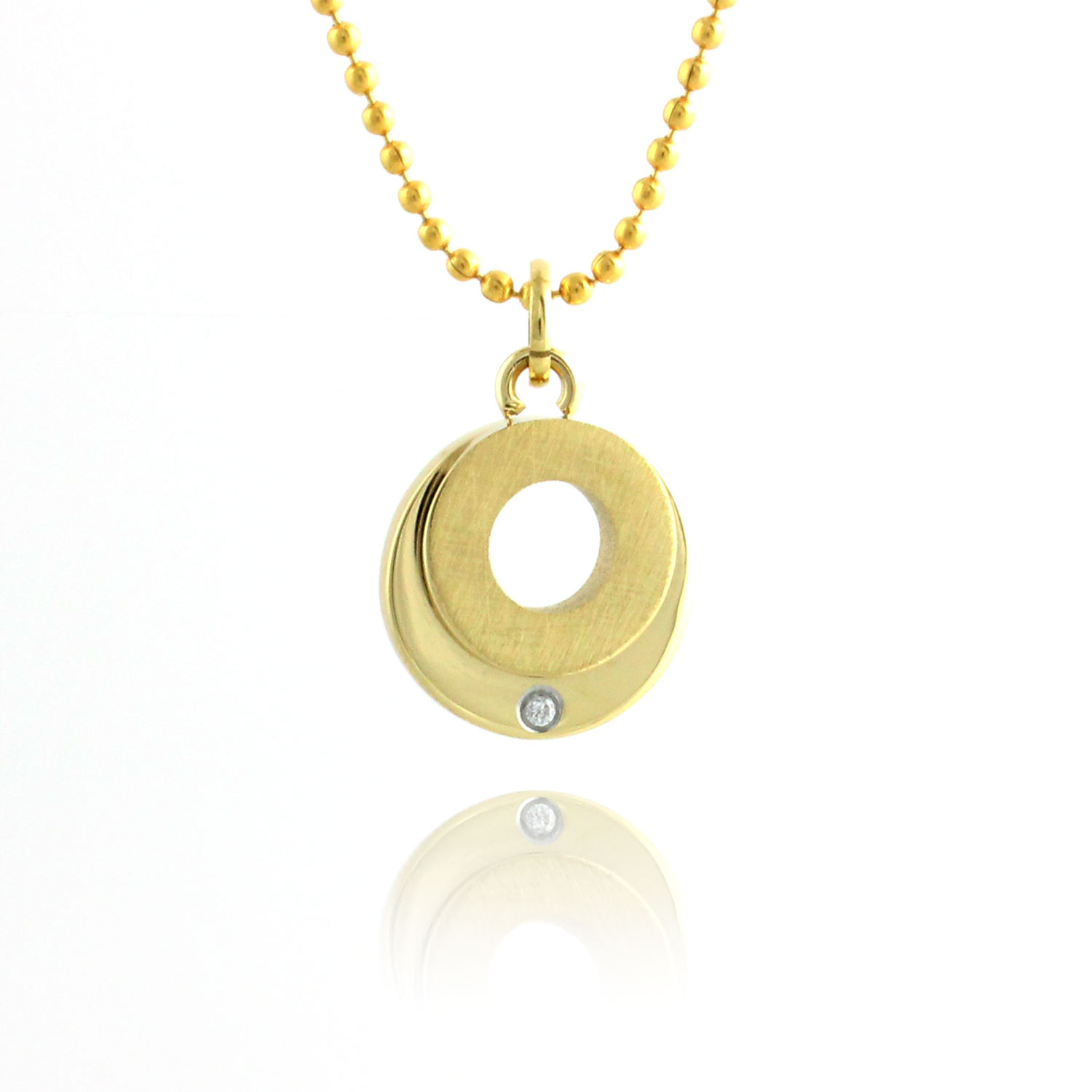 Halo Gold Plated & Cubic Zirconia Circle Pendant Necklace - 18 Inch Chain