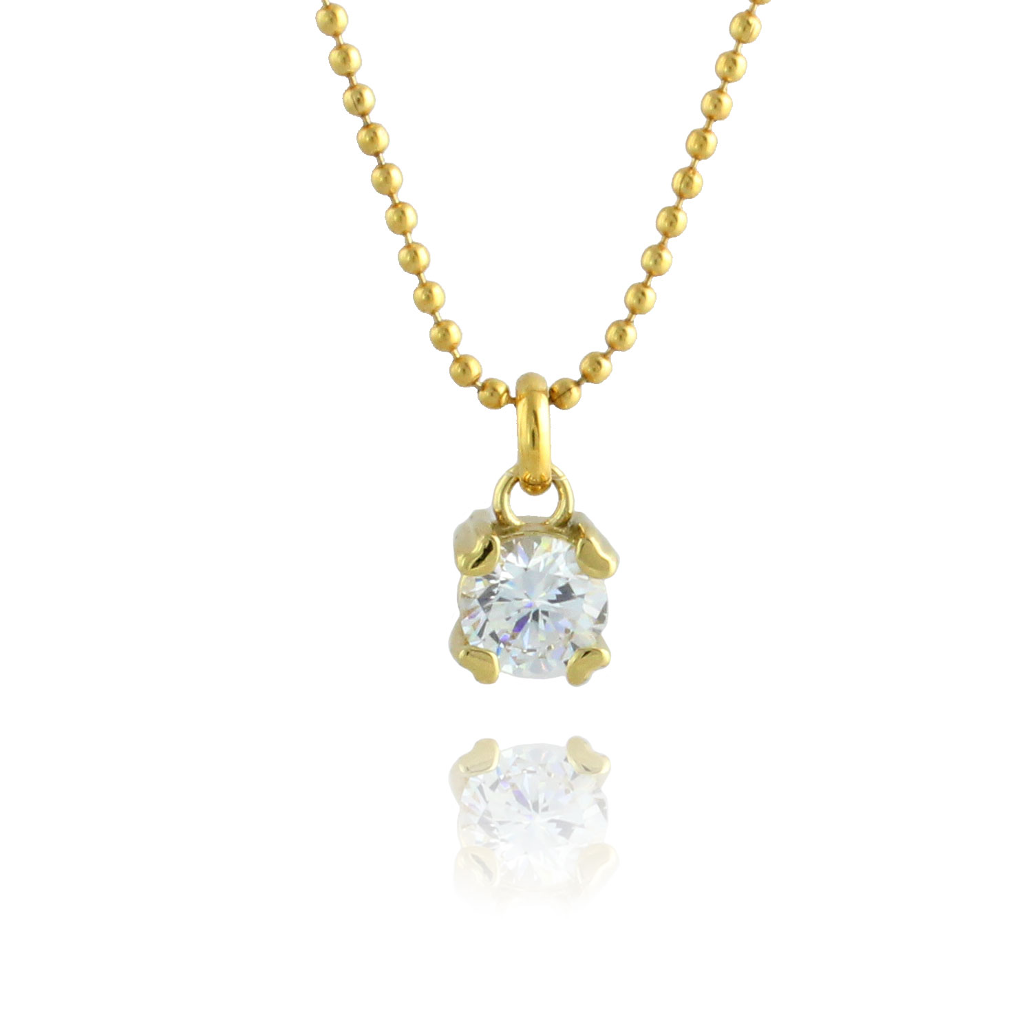 Tiny Hearts Gold Plated & White Cubic Zirconia Simple Pendant Necklace - 18 inch chain