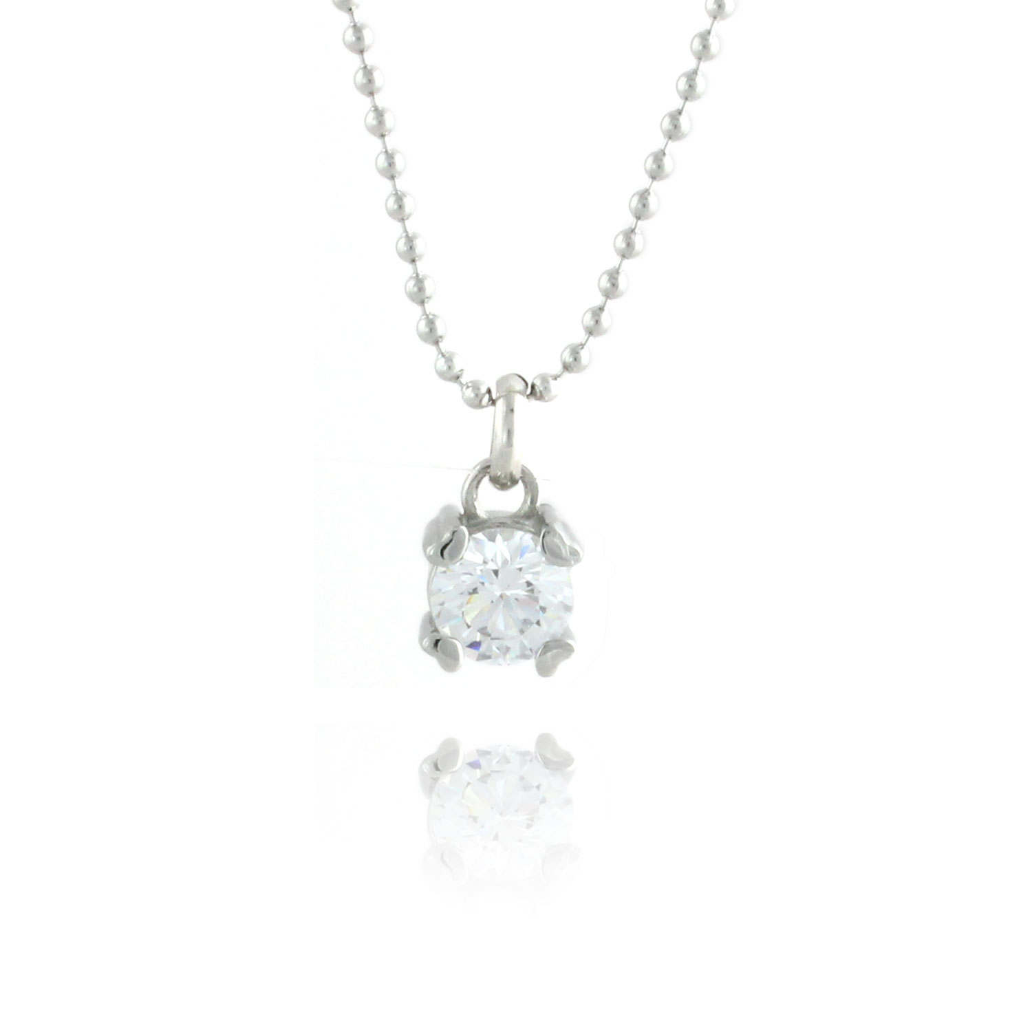Tiny Hearts 316L Stainless Steel & White Cubic Zirconia Simple Pendant Necklace - 18 inch chain