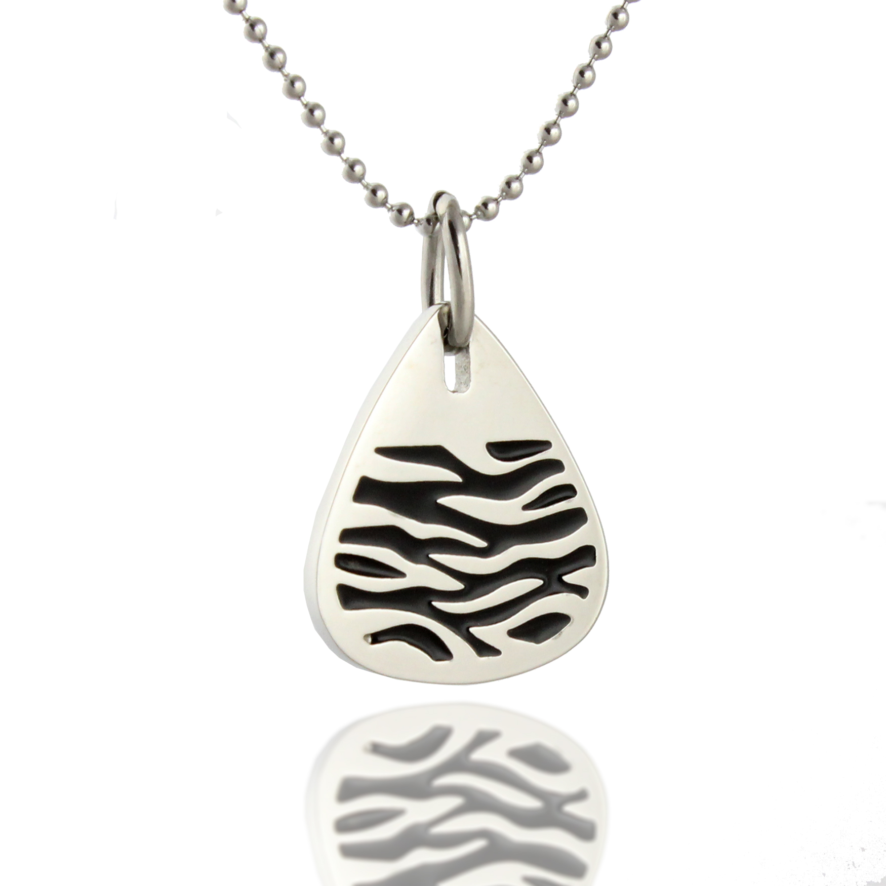 316L Stainless Steel and Black Epoxy Tiger Print Pendant Necklace, 18 inch Chain