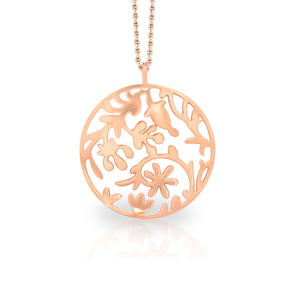 Forest Foliage Rose Gold Plated Laser Cut Pendant Necklace - 16 Inch Chain