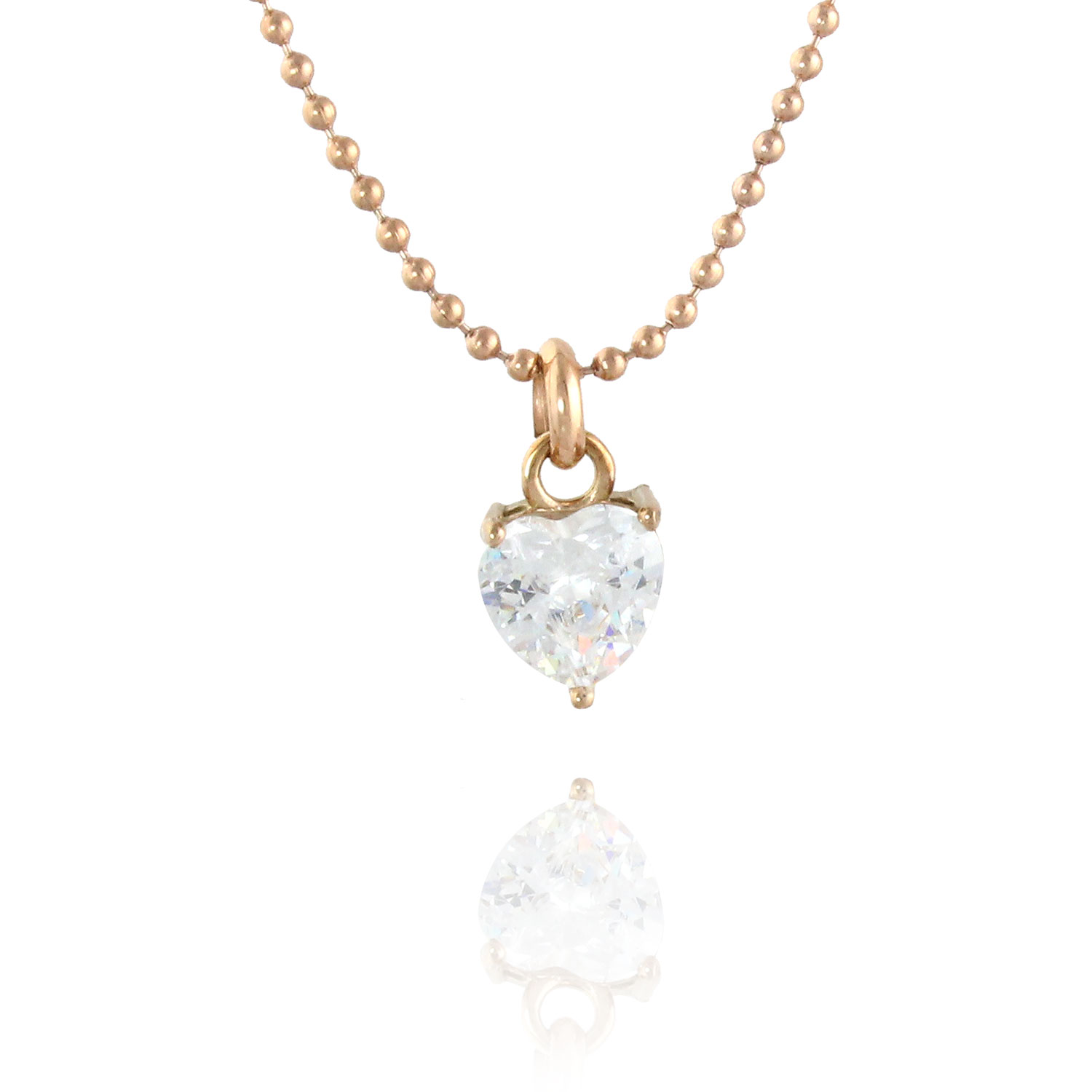 Simply Elegant Heart Rose Gold Plated & White Cubic Zirconia Pendant Necklace - 16 Inch Chain