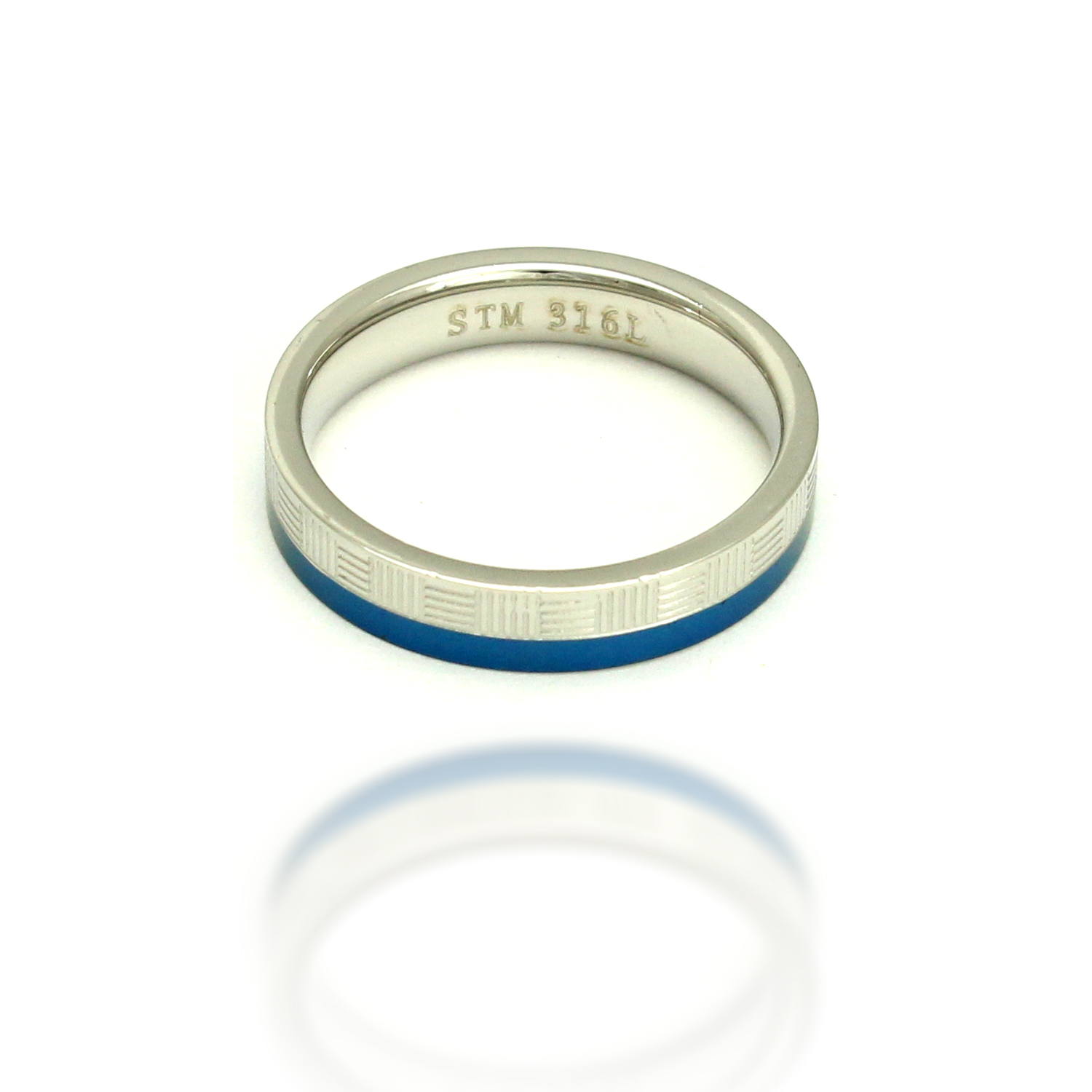 316L Stainless Steel and Space Blue Mat Design Fashion Ring, Size 6.5