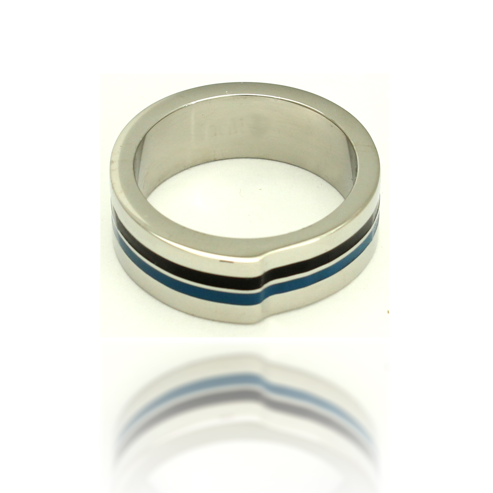 316L Stainless Steel Blue and Black Striped Fashion Ring, Size 10.25