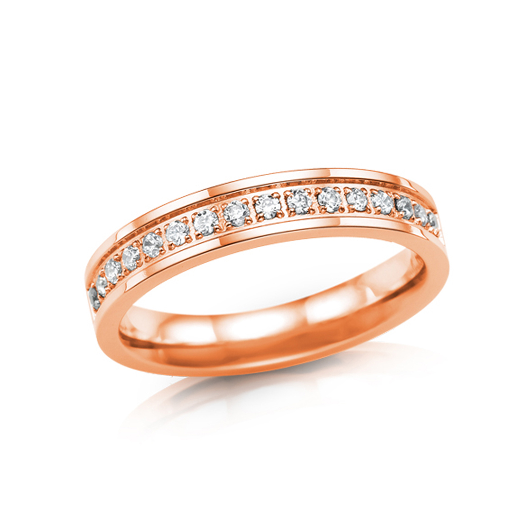 Royalty Ring in Rose Gold Plating with Cubic Zirconia Stones - Size 6.5