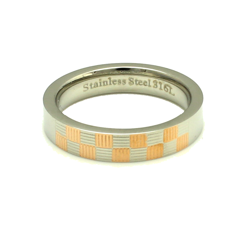 316L Stainless Steel Rose Gold Plated Checker Texture Trendy Fashion Ring, Size 6.5
