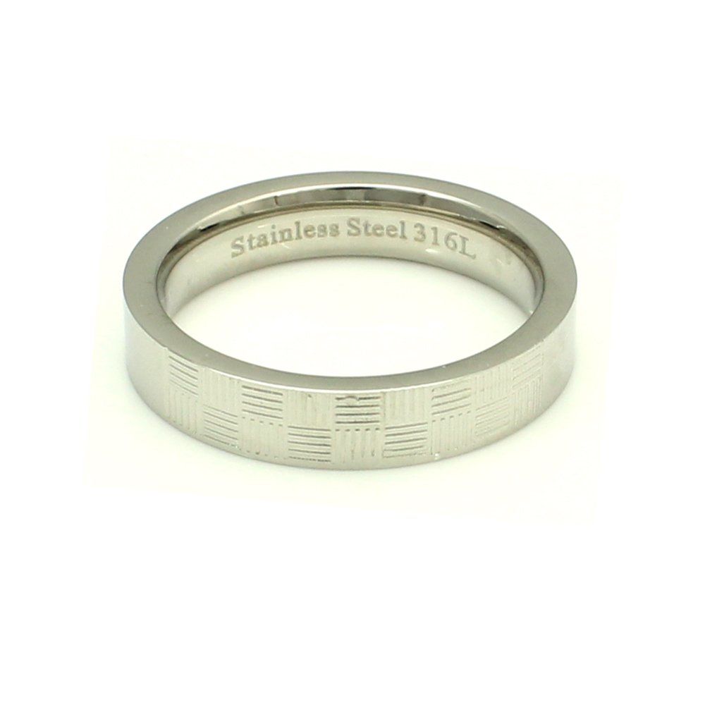 316L Stainless Steel Checker Texture Trendy Fashion Ring, Size 6.5