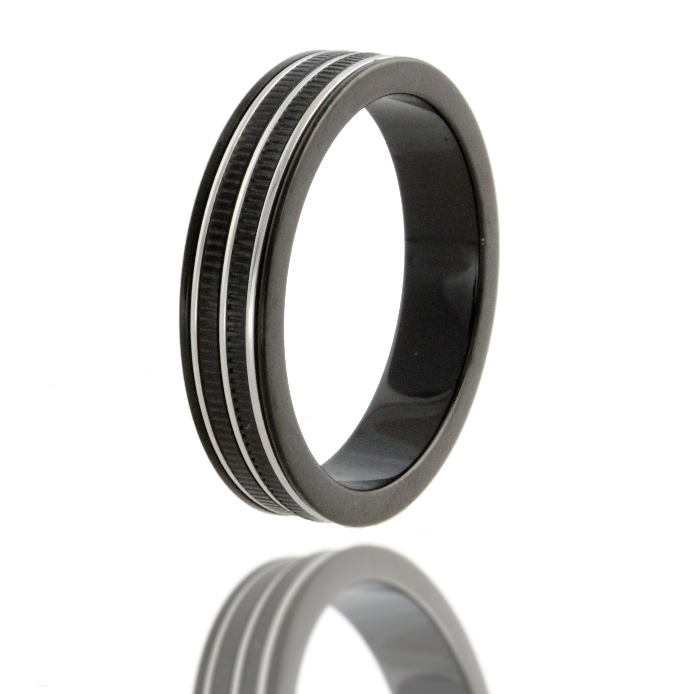 black 316l stainless steel wedding ring band size 10 25