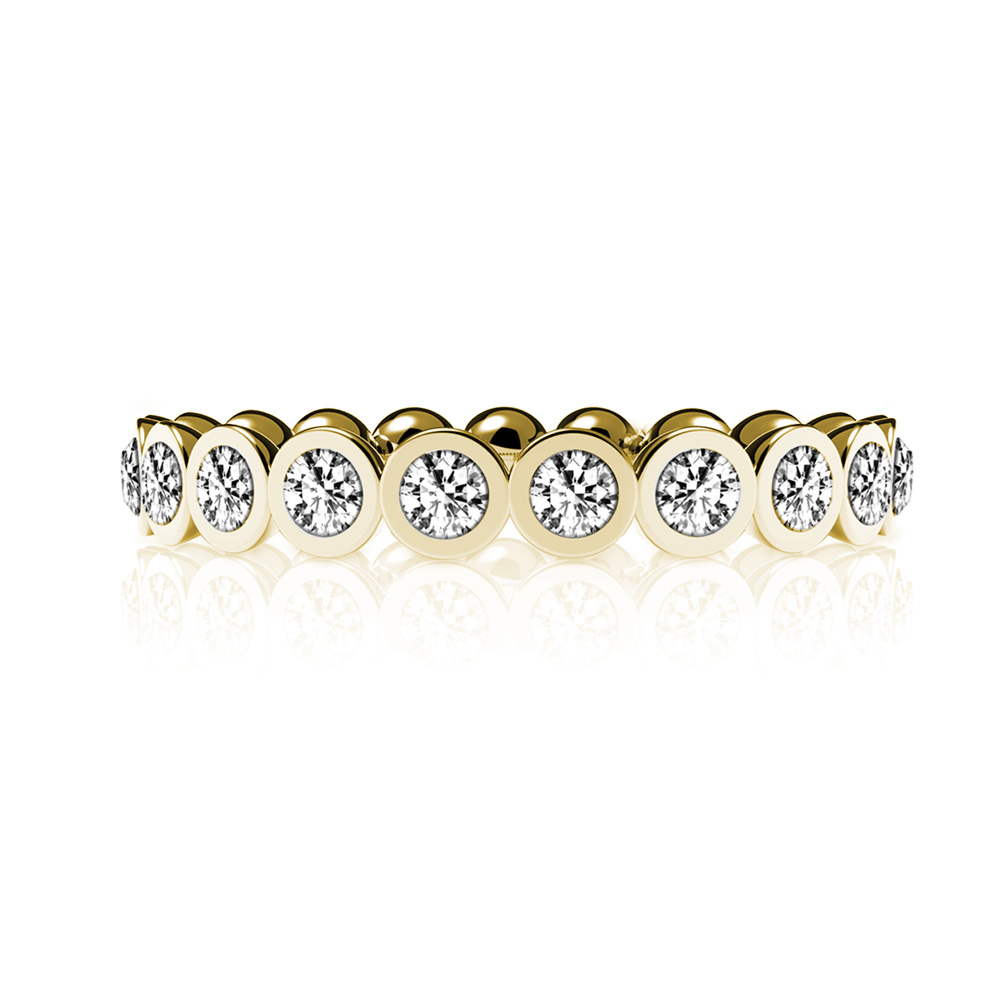Straight Splendor Gold Plated Ring with Cubic Zirconia - Size 6.5