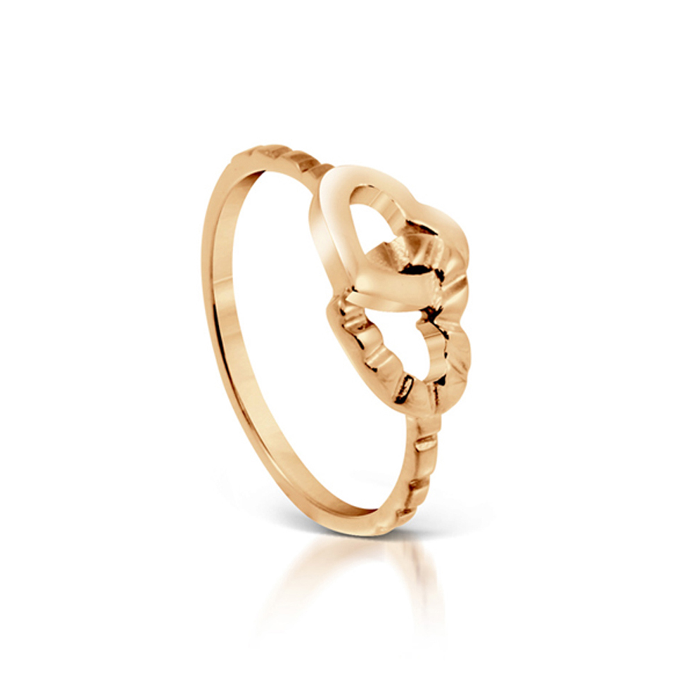 Joined Hearts Rose Gold Plated Ring - Size 6.5