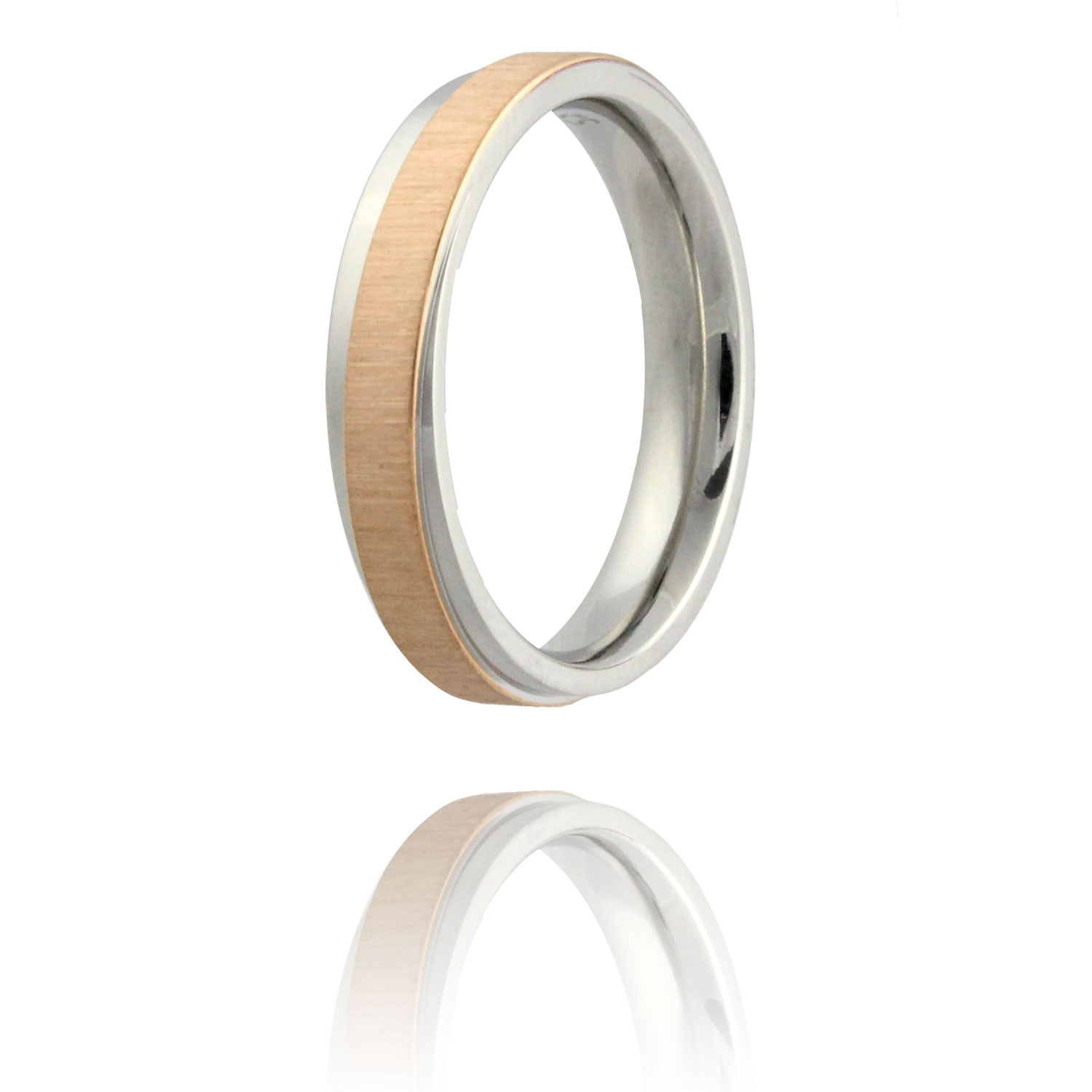 Abstract 316L Stainless Steel & Rose Gold Plated Double Texture Ring - Size 6.5