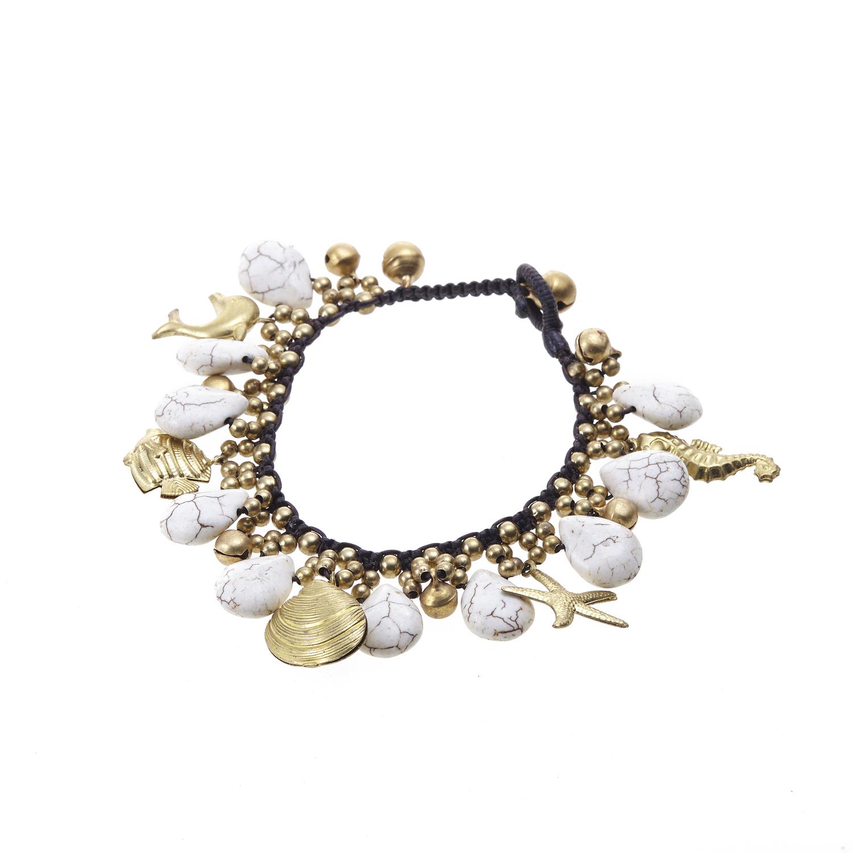 Handmade White Turquoise Gemstone Summer Ocean Bracelet, 7 inches