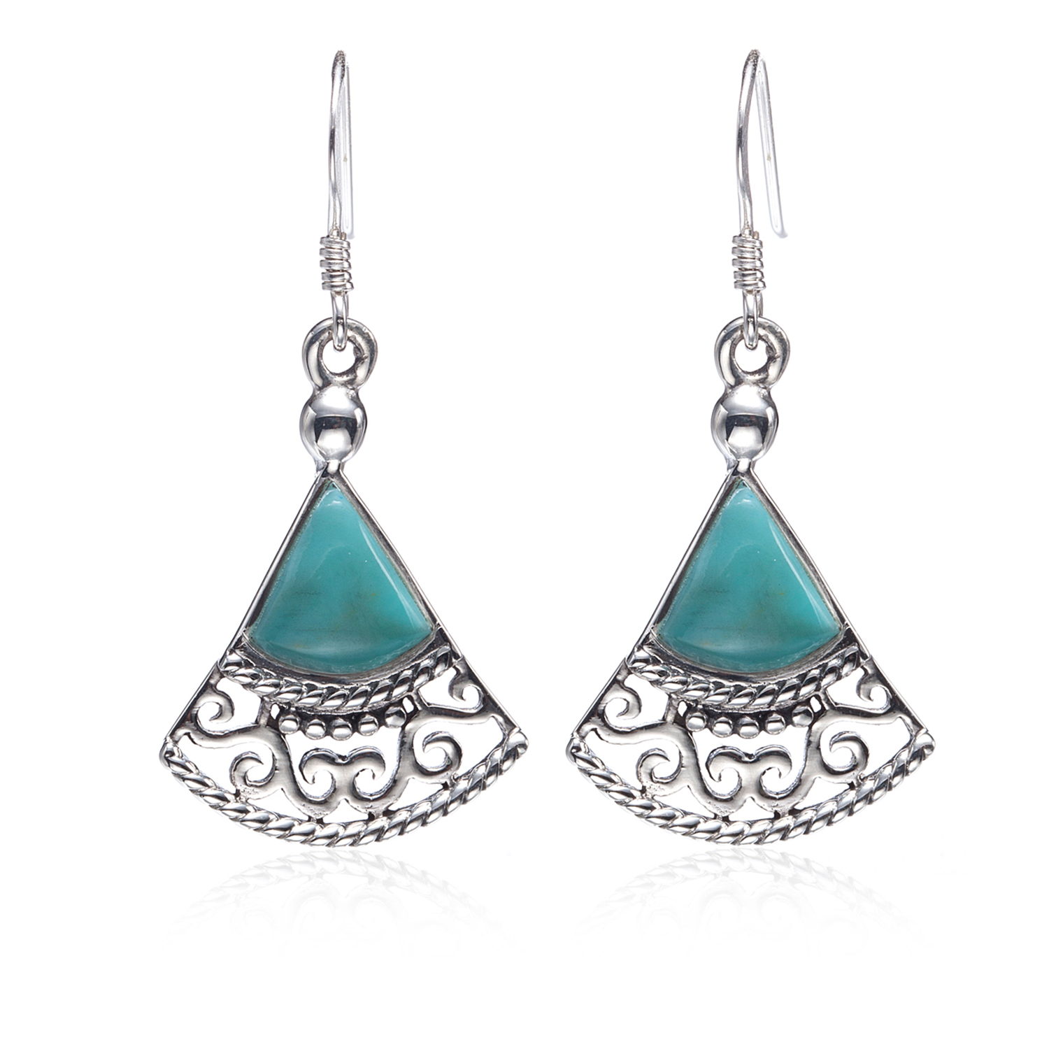 925 Sterling Silver Blue Turquoise Gemstones Filigree Triangle Dangle Earrings - Nickel Free