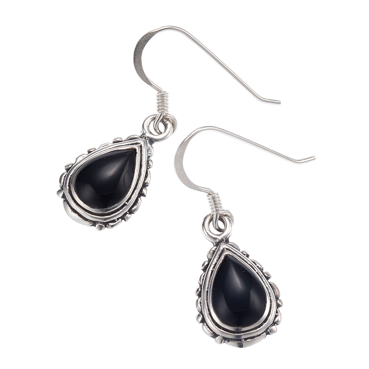 925 Oxidized Sterling Silver Black Onyx Gemstones Tear Drop Dangle Earrings - Nickel Free