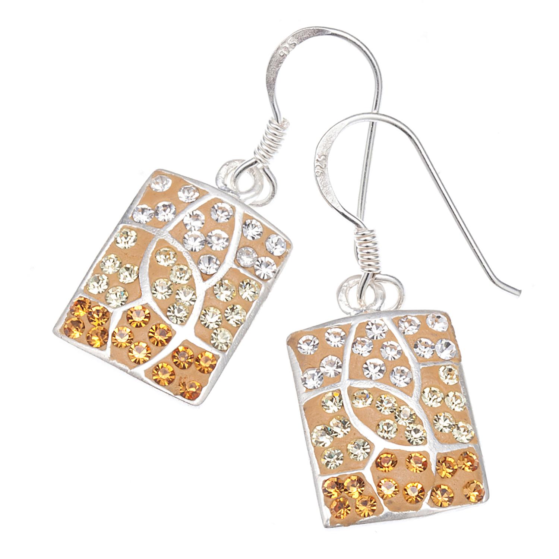 925 Sterling Silver Yellow Enamel Rectangle Swarovski Crystal Dangle Earrings