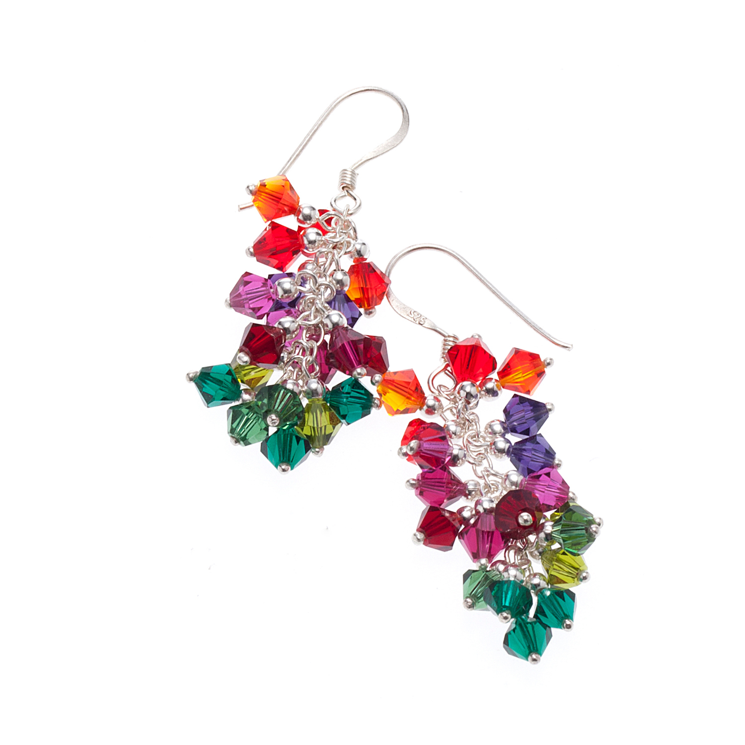 925 Sterling Silver Multi-Colored Cluster Faceted Genuine Swarovski Crystal Dangle Earrings