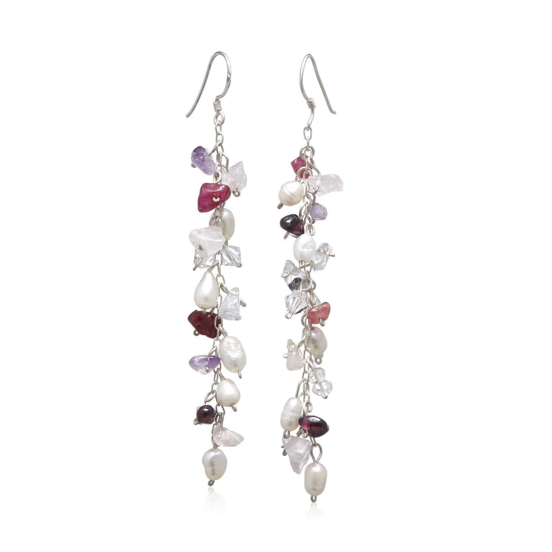 925 Sterling Silver Fresh Water Pearl, Ruby, Amethyst and Swarovski Crystal Dangle Earrings