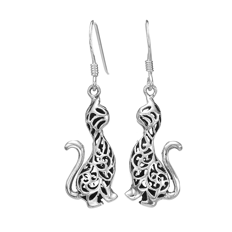 925 Oxidized Sterling Silver Filigree Cat Kitten Kitty Dangle Earrings 1.2 inches