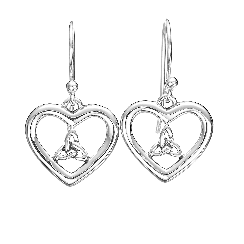 925 Sterling Silver Celtic Trinity In Heart Dangle Earrings 12 mm - Nickel Free