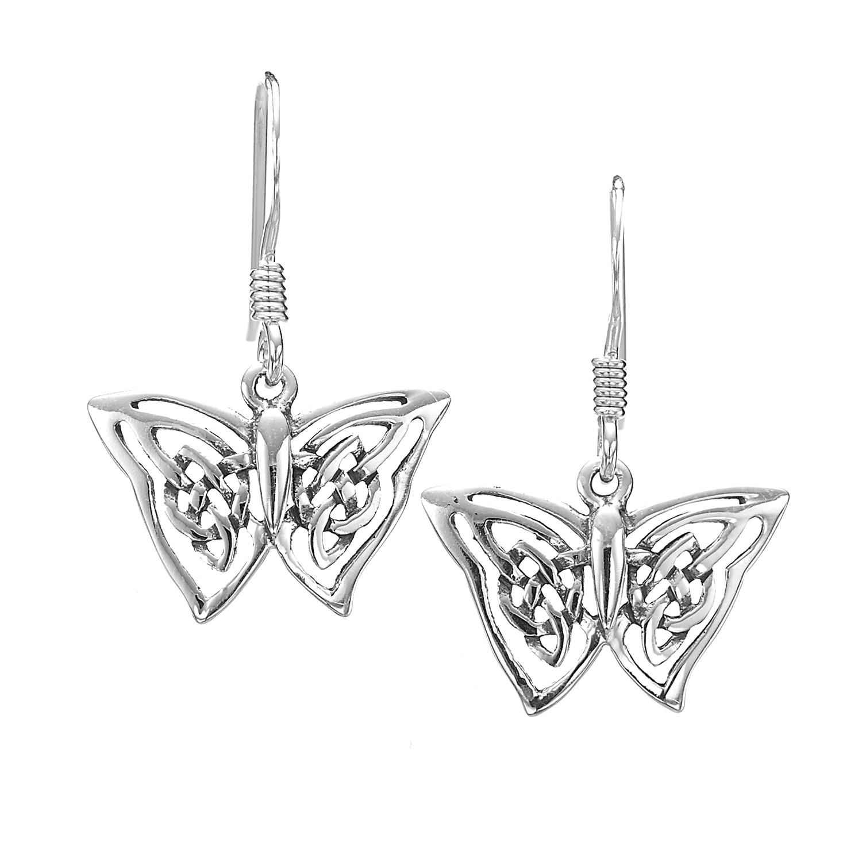 925 Sterling Silver Celtic Knot Butterfly Dangle Earrings 12 mm - Nickel Free