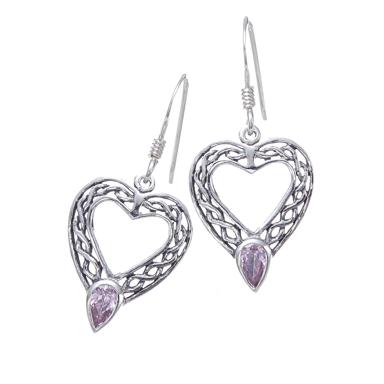 925 Oxidized Sterling Silver Celtic Knot Heart Purple Cubic Zirconia CZ Dangle Earrings