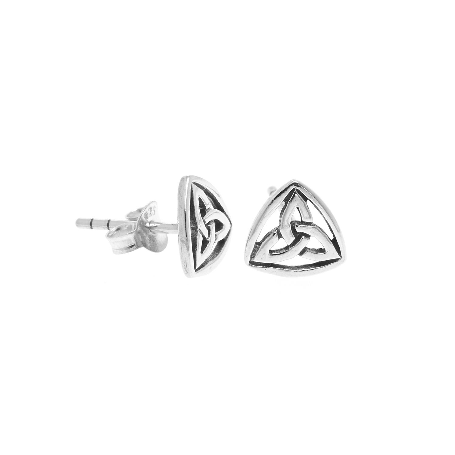 925 Sterling Silver Rounded Celtic Knot Trinity Post Stud Earrings 12 mm - Nickel Free