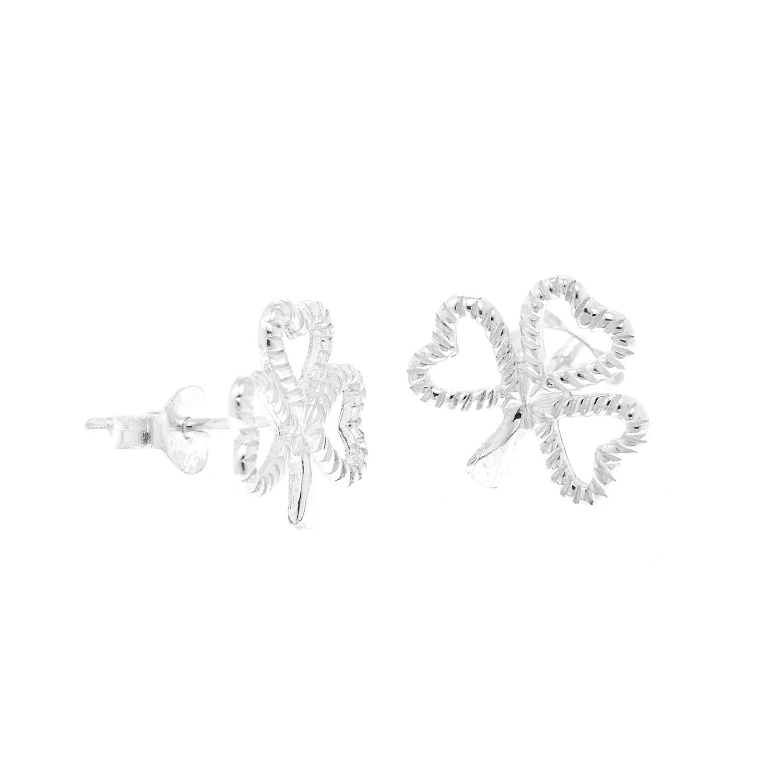 925 Sterling Silver Open Shamrock Three Leaf Clover Post Stud Earrings 12 mm - Nickel Free
