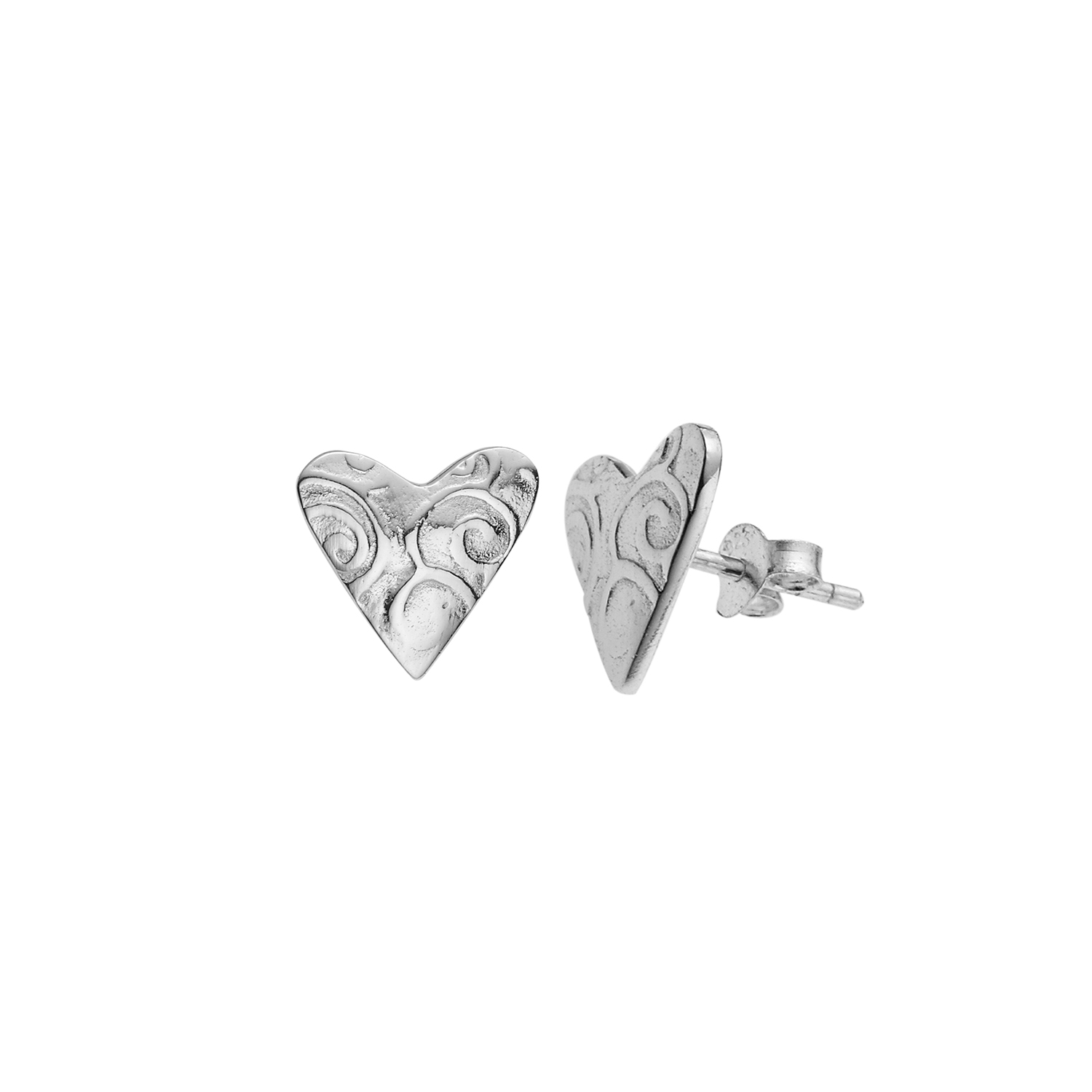 925 Sterling Silver Heart with E-coating Post Stud Earrings 12 mm - Nickel Free