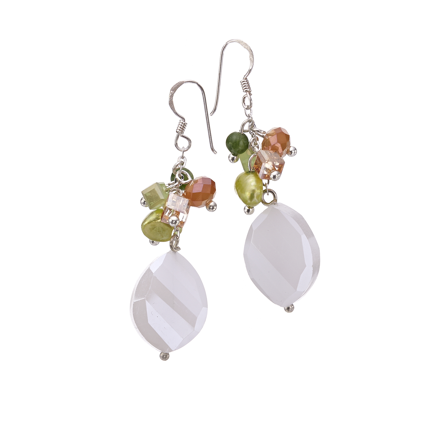 Silver-Plated Brass White Crystal Mother of Pearl Cluster Dangle Earrings 1.8